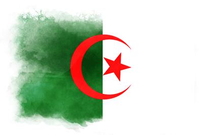 アルジェリア民主人民共和国の国旗-水彩風