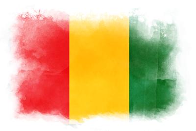 ギニア共和国の国旗-水彩風