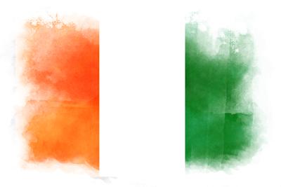 コートジボワール共和国の国旗-水彩風