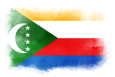 コモロ連合の国旗-水彩風