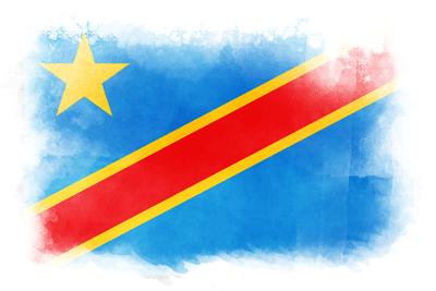 コンゴ民主共和国の国旗-水彩風