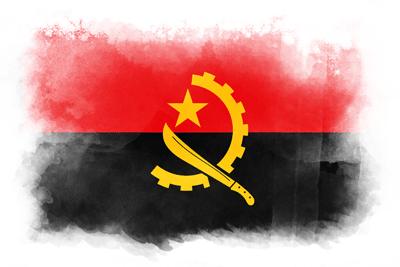 アンゴラ共和国の国旗-水彩風