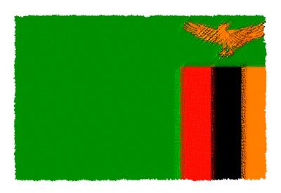 ザンビア共和国の国旗-パステル