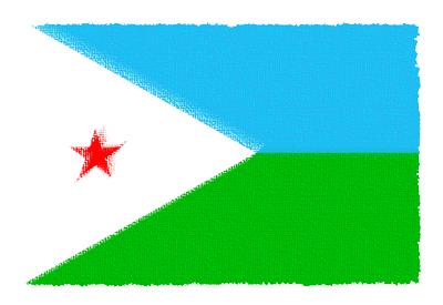 ジブチ共和国の国旗-パステル