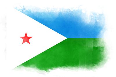 ジブチ共和国の国旗-水彩風