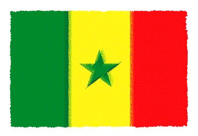 セネガル共和国の国旗-パステル