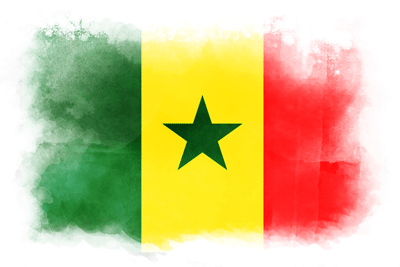 セネガル共和国の国旗-水彩風