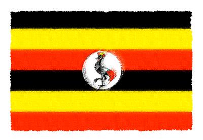 ウガンダ共和国の国旗-パステル