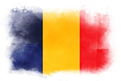 チャド共和国の国旗-水彩風