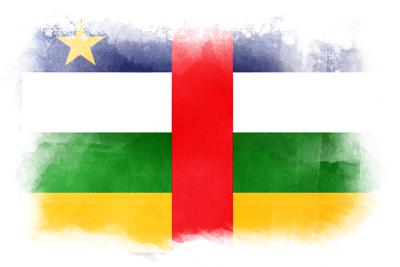 中央アフリカ共和国の国旗-水彩風