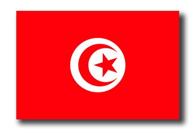 チュニジア共和国の国旗-ドロップシャドウ