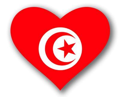 チュニジア共和国の国旗-ハート