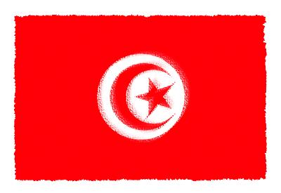 チュニジア共和国の国旗-パステル