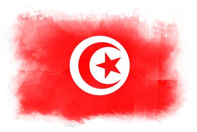 チュニジア共和国の国旗-水彩風
