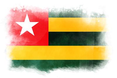 トーゴ共和国の国旗-水彩風