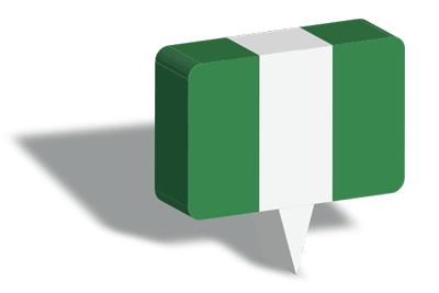 ナイジェリア連邦共和国の国旗-マップピン