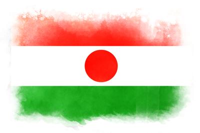 ニジェール共和国の国旗-水彩風