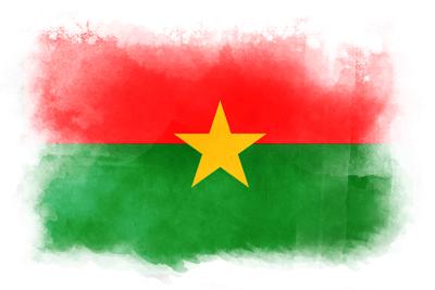 ブルキナファソの国旗-水彩風