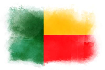 ベナン共和国の国旗-水彩風