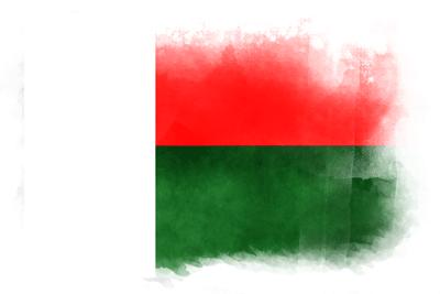 マダガスカル共和国の国旗-水彩風