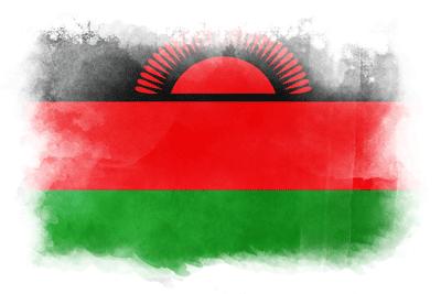 マラウィ共和国の国旗-水彩風