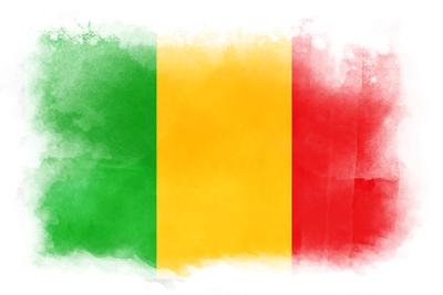 マリ共和国の国旗-水彩風
