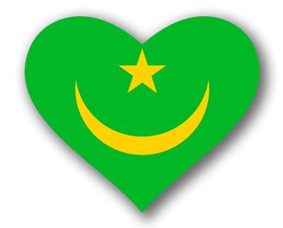 モーリタニア・イスラム共和国の国旗-ハート
