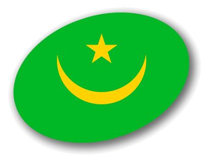 モーリタニア・イスラム共和国の国旗-楕円