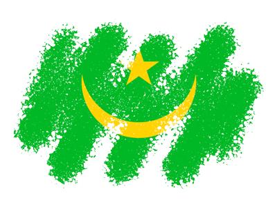 モーリタニア・イスラム共和国の国旗-クレヨン1