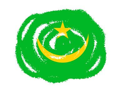 モーリタニア・イスラム共和国の国旗-クラヨン2