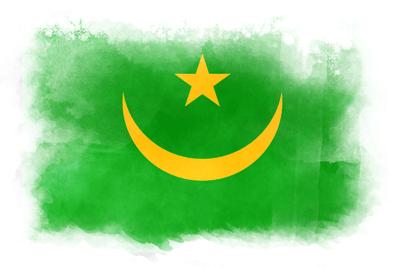 モーリタニア・イスラム共和国の国旗-水彩風