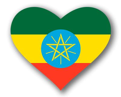 エチオピア連邦民主共和国の国旗-ハート
