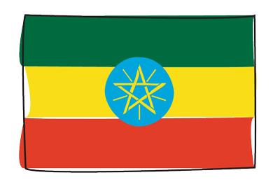 エチオピア連邦民主共和国の国旗-グラフィティ