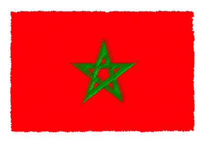 モロッコ王国の国旗-パステル