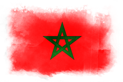 モロッコ王国の国旗-水彩風