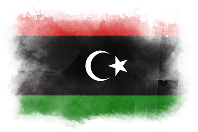 リビアの国旗-水彩風