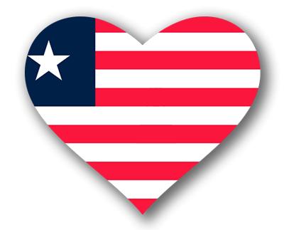 リベリア共和国の国旗-ハート