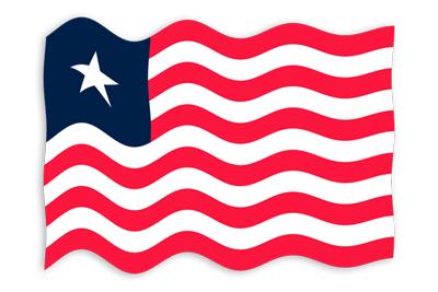 リベリア共和国の国旗-波
