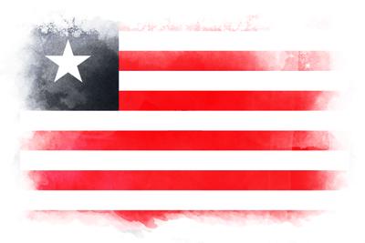 リベリア共和国の国旗-水彩風
