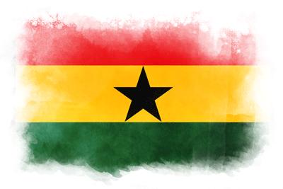 ガーナ共和国の国旗-水彩風