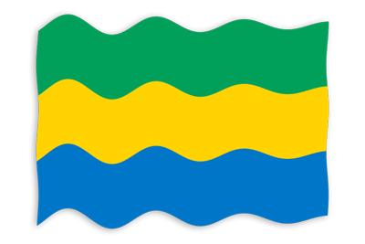 ガボン共和国の国旗-波