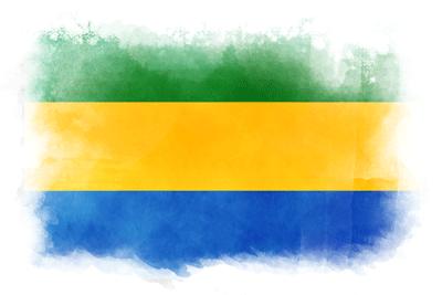 ガボン共和国の国旗-水彩風