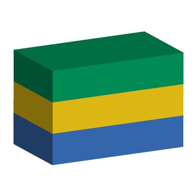 ガボン共和国の国旗-積み木