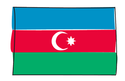 アゼルバイジャン共和国の国旗-グラフィティ