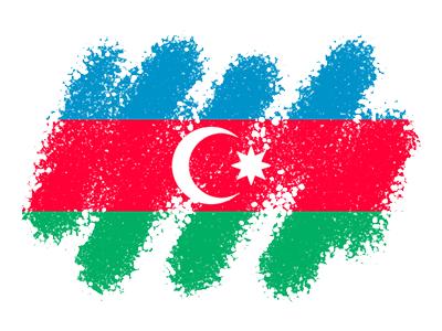 アゼルバイジャン共和国の国旗-クレヨン1