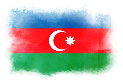 アゼルバイジャン共和国の国旗-水彩風
