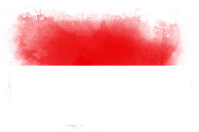 インドネシア共和国の国旗-水彩風