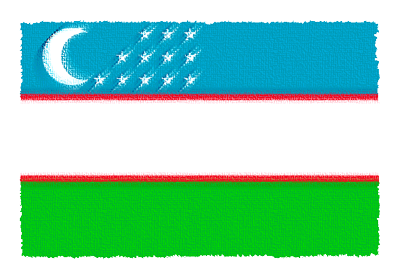 ウズベキスタン共和国の国旗-パステル