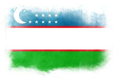 ウズベキスタン共和国の国旗-水彩風