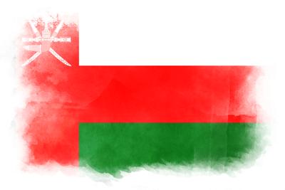 オマーン国の国旗-水彩風
